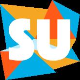 Deze afbeelding toont het logo van Storytellers United